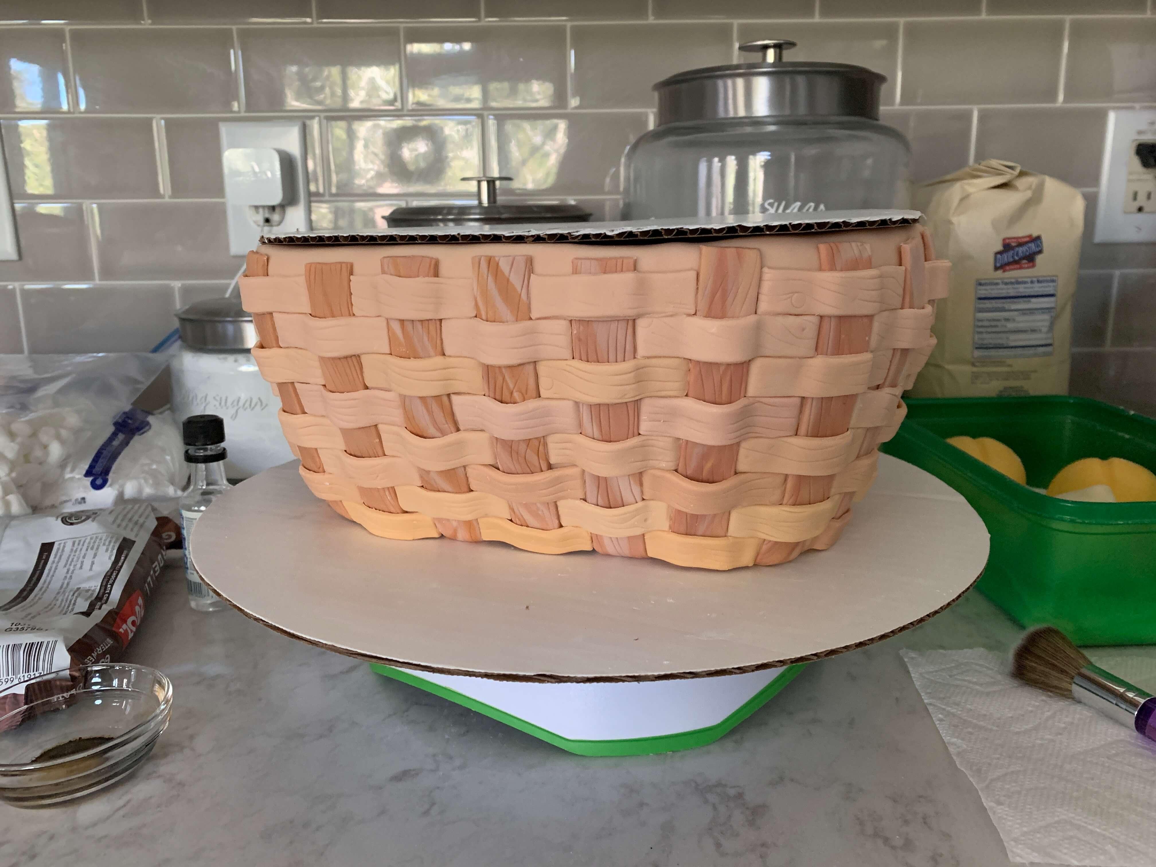 Weaving Details on the Basket Cake