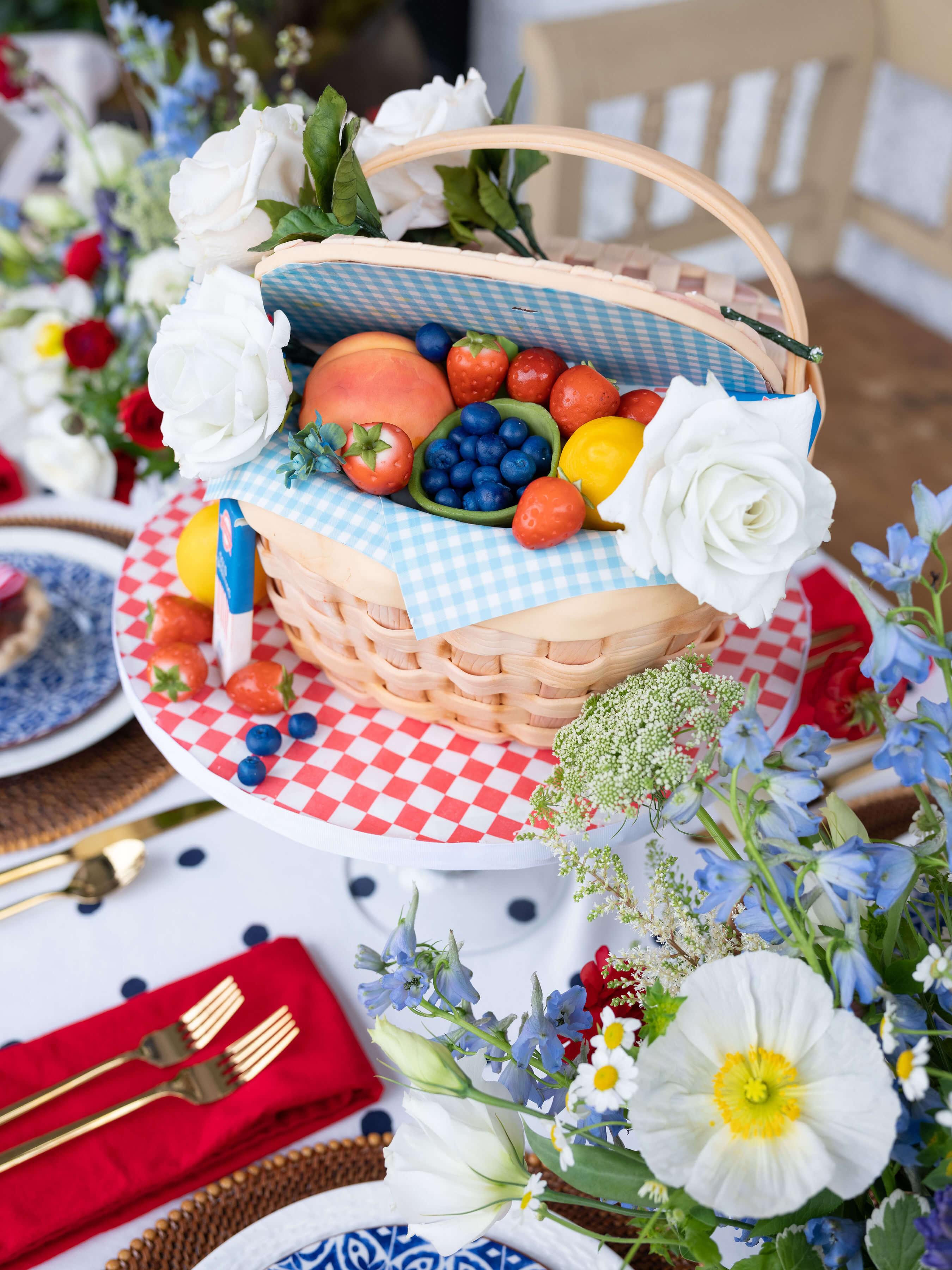 Picnic Basket Cake with Sugar Fruit
