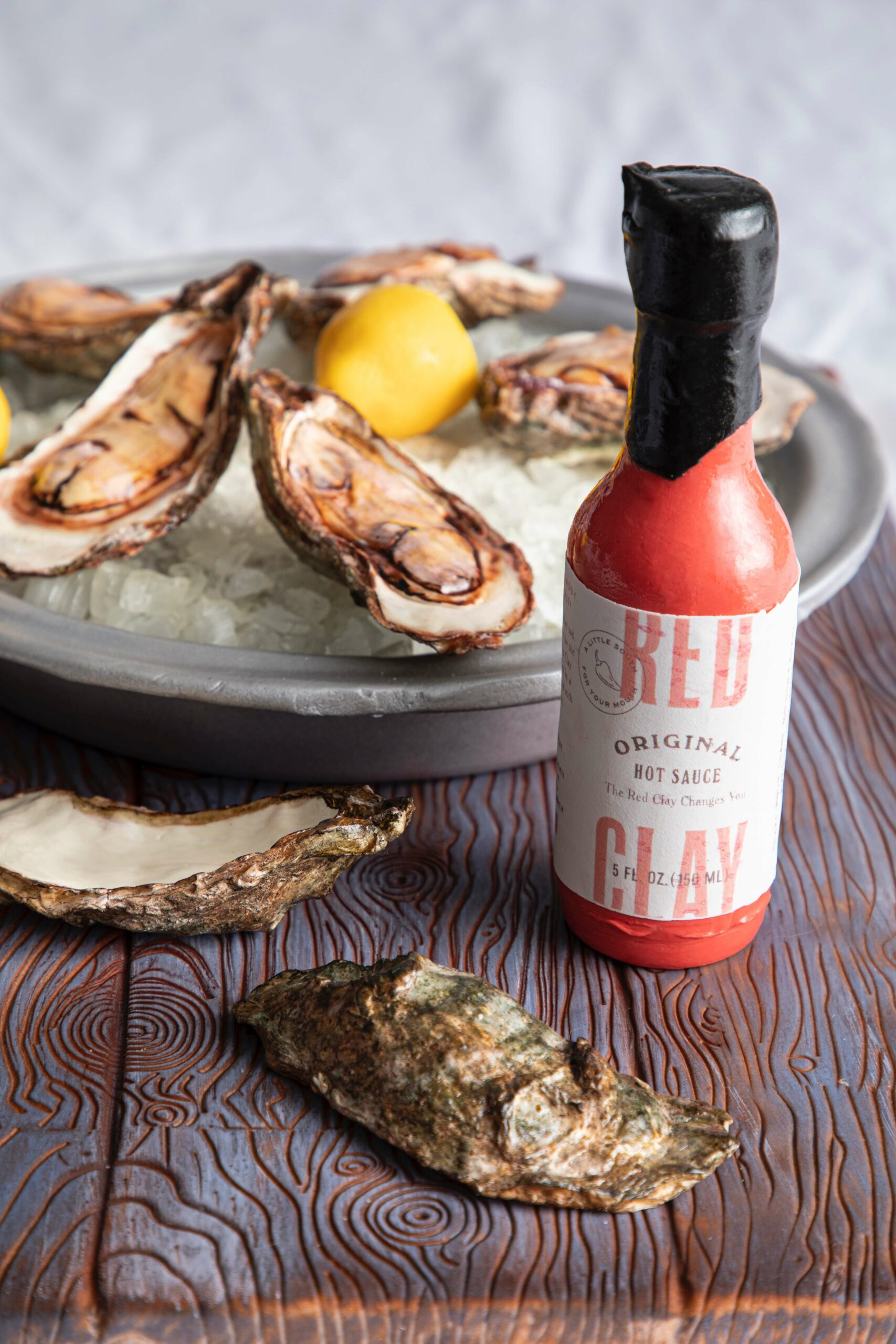 Oyster Tray Cake Red Clay Hot Sauce