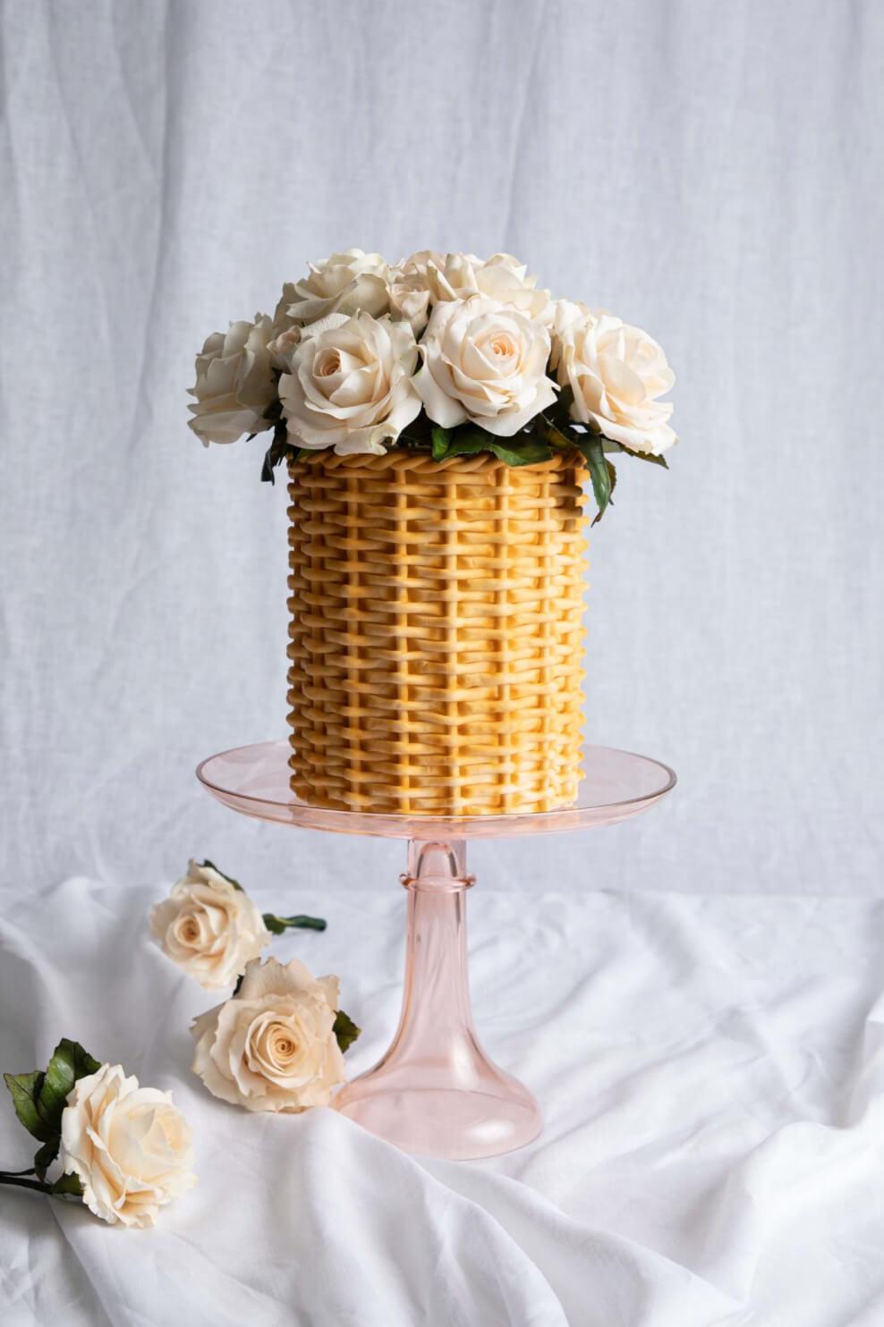 sugar flowers sugar roses rattan cake custom cakes by Julie McAllister Cakes